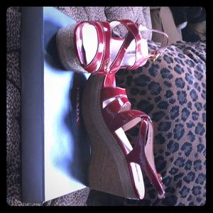 Red patent leather wedge sandals